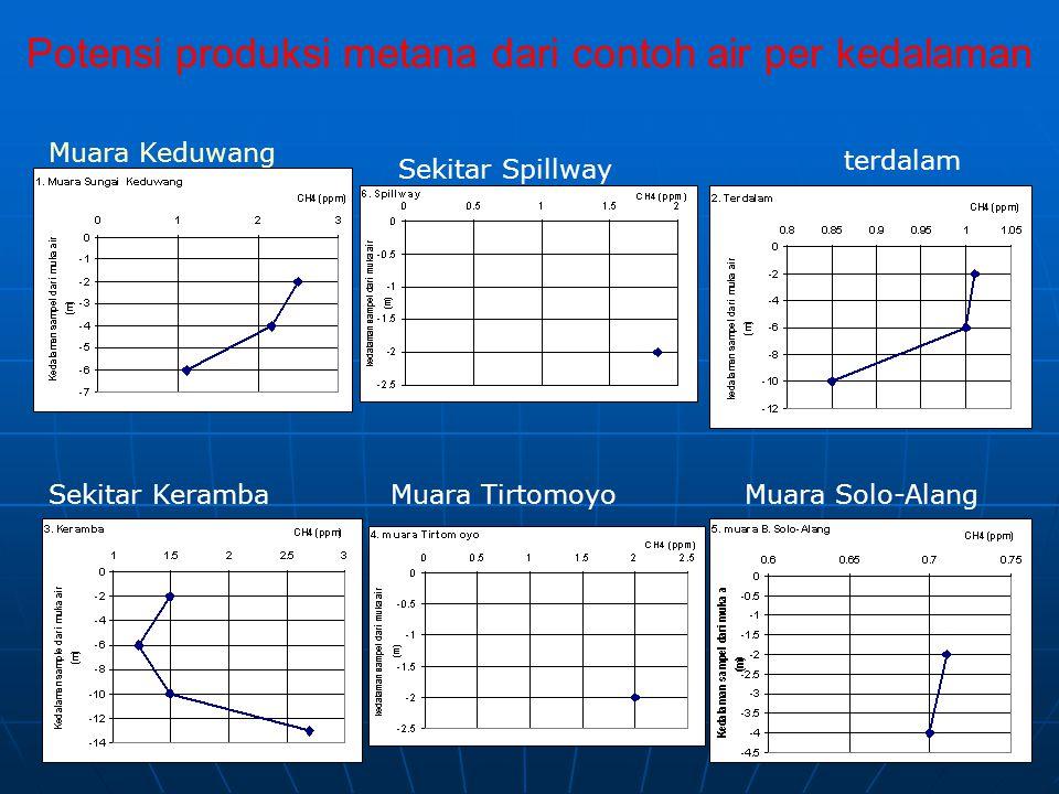 Potensi produksi metana dari contoh air per kedalaman Muara Keduwang terdalam Sekitar KerambaMuara Solo-Alang Sekitar Spillway Muara Tirtomoyo