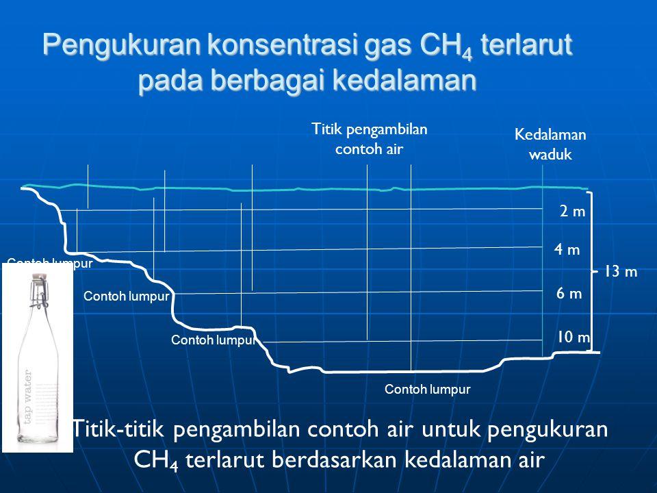 Pengukuran konsentrasi gas CH 4 terlarut pada berbagai kedalaman 13 m 2 m 4 m 6 m 10 m Titik-titik pengambilan contoh air untuk pengukuran CH 4 terlarut berdasarkan kedalaman air Kedalaman waduk Titik pengambilan contoh air Contoh lumpur