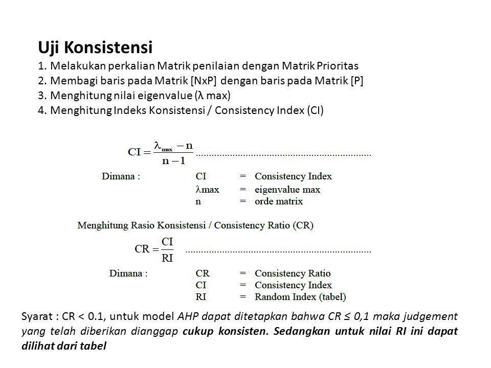 Uji Konsistensi 1.Melakukan perkalian Matrik penilaian dengan Matrik Prioritas 2.