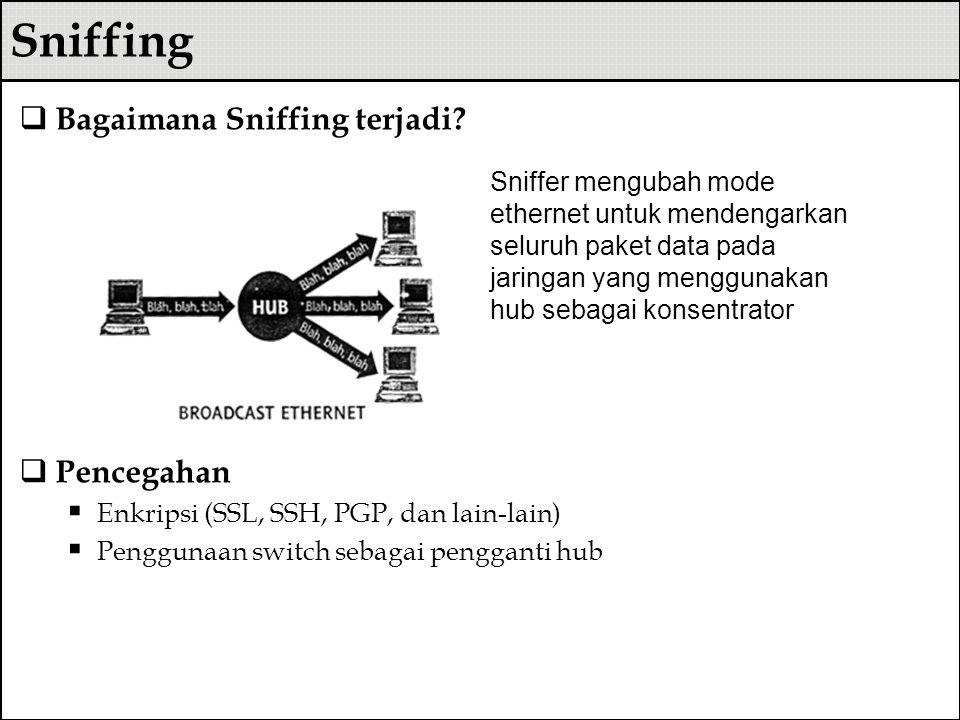 Sniffing  Bagaimana Sniffing terjadi?  Pencegahan  Enkripsi (SSL, SSH, PGP, dan lain-lain)  Penggunaan switch sebagai pengganti hub Sniffer mengub