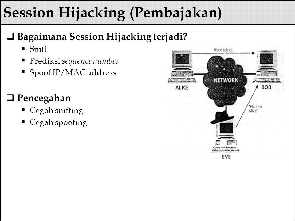 Session Hijacking (Pembajakan)  Bagaimana Session Hijacking terjadi?  Sniff  Prediksi sequence number  Spoof IP/MAC address  Pencegahan  Cegah s