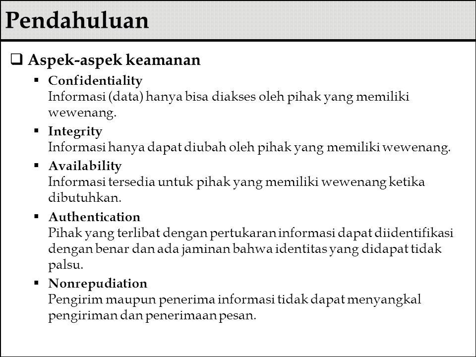  Aspek-aspek keamanan  Confidentiality Informasi (data) hanya bisa diakses oleh pihak yang memiliki wewenang.  Integrity Informasi hanya dapat diub