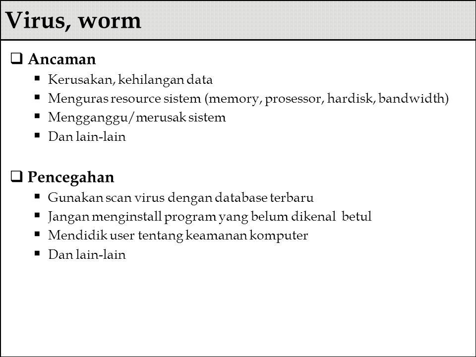 Virus, worm  Ancaman  Kerusakan, kehilangan data  Menguras resource sistem (memory, prosessor, hardisk, bandwidth)  Mengganggu/merusak sistem  Da