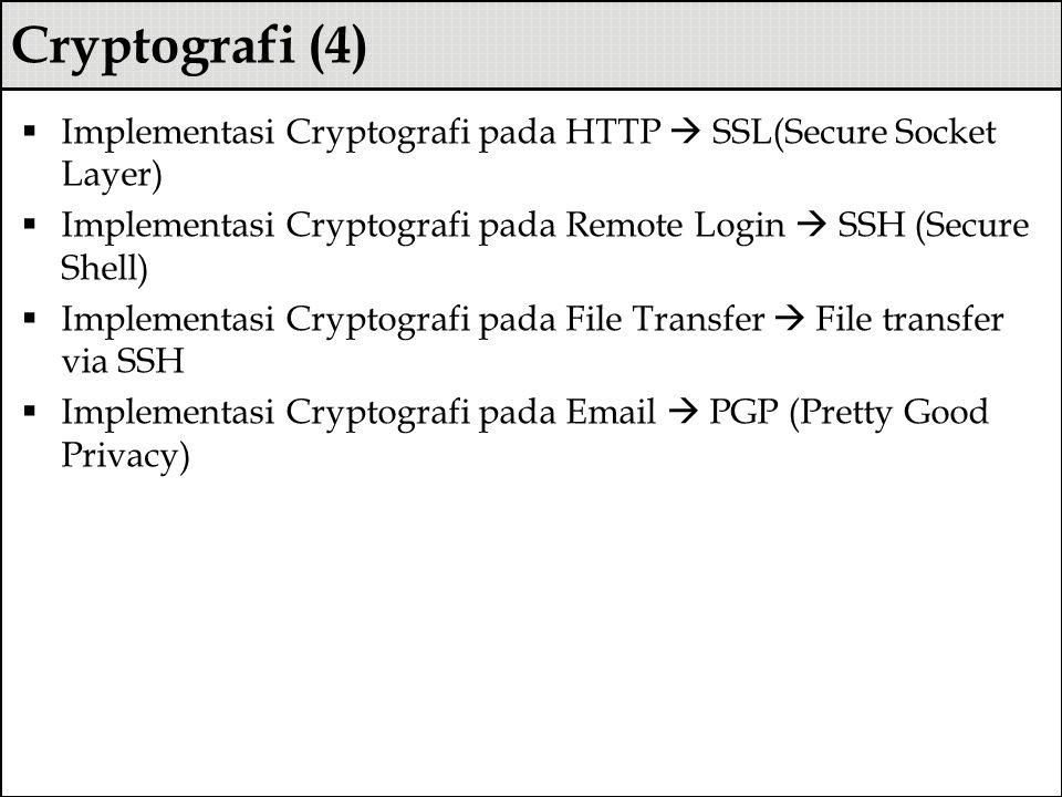 Cryptografi (4)  Implementasi Cryptografi pada HTTP  SSL(Secure Socket Layer)  Implementasi Cryptografi pada Remote Login  SSH (Secure Shell)  Im
