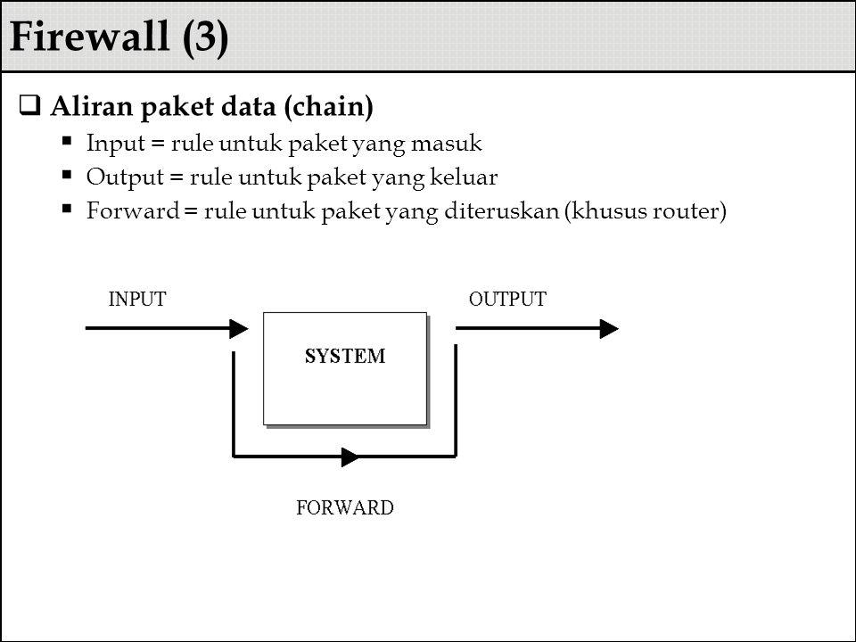Firewall (3)  Aliran paket data (chain)  Input = rule untuk paket yang masuk  Output = rule untuk paket yang keluar  Forward = rule untuk paket ya