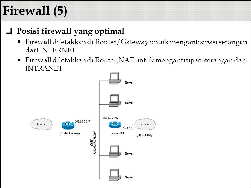 Firewall (5)  Posisi firewall yang optimal  Firewall diletakkan di Router/Gateway untuk mengantisipasi serangan dari INTERNET  Firewall diletakkan