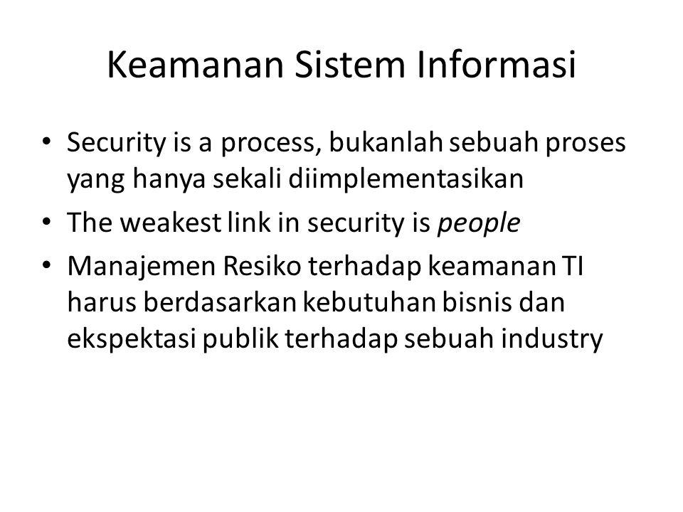 Keamanan Sistem Informasi Security is a process, bukanlah sebuah proses yang hanya sekali diimplementasikan The weakest link in security is people Man