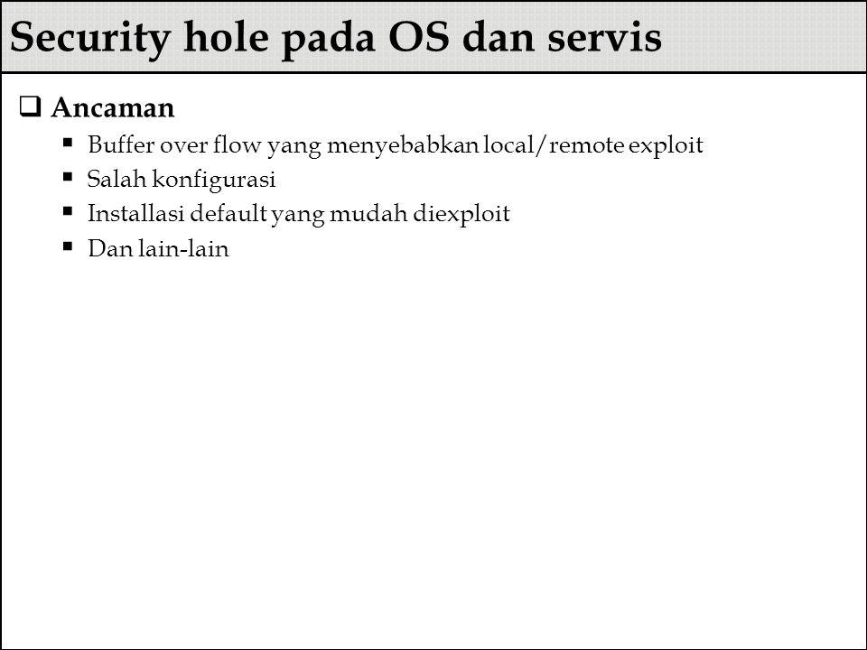 Security hole pada OS dan servis  Ancaman  Buffer over flow yang menyebabkan local/remote exploit  Salah konfigurasi  Installasi default yang muda