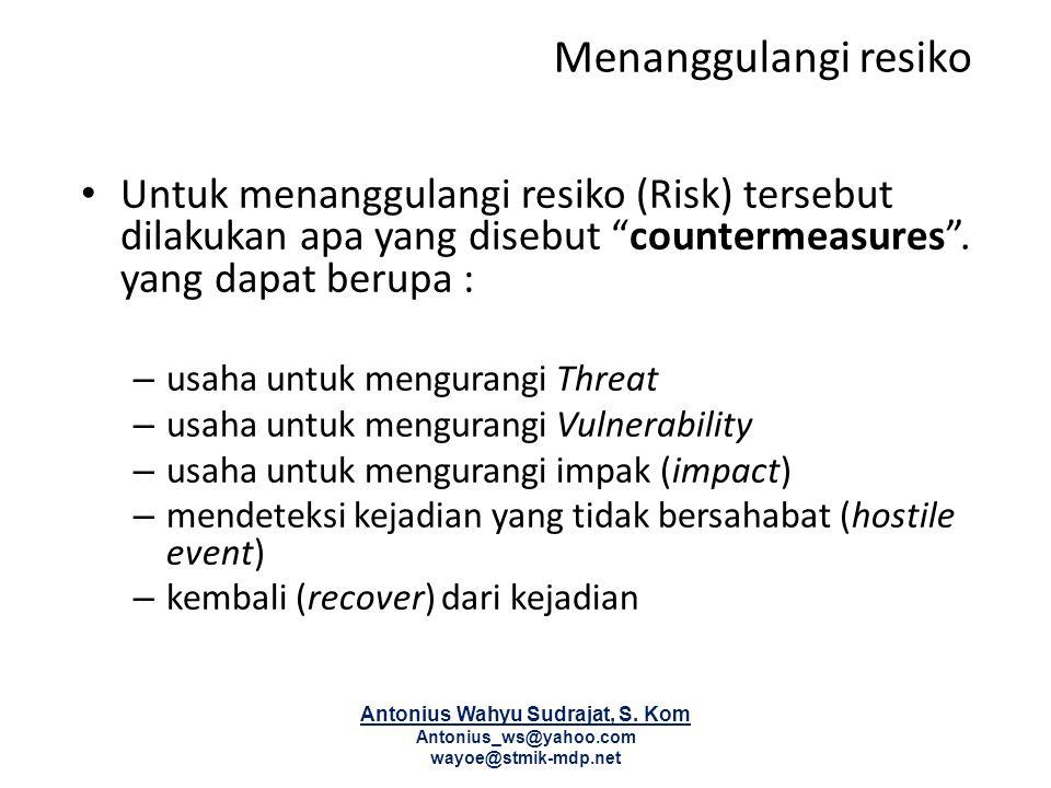 """Menanggulangi resiko Untuk menanggulangi resiko (Risk) tersebut dilakukan apa yang disebut """"countermeasures"""". yang dapat berupa : – usaha untuk mengur"""