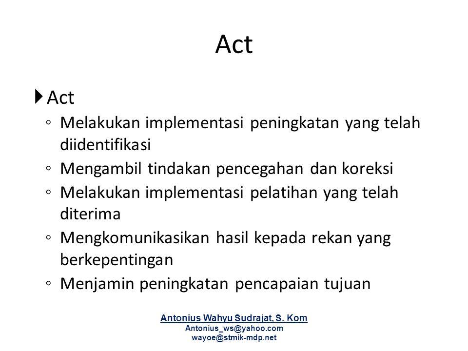 Act  Act ◦ Melakukan implementasi peningkatan yang telah diidentifikasi ◦ Mengambil tindakan pencegahan dan koreksi ◦ Melakukan implementasi pelatiha