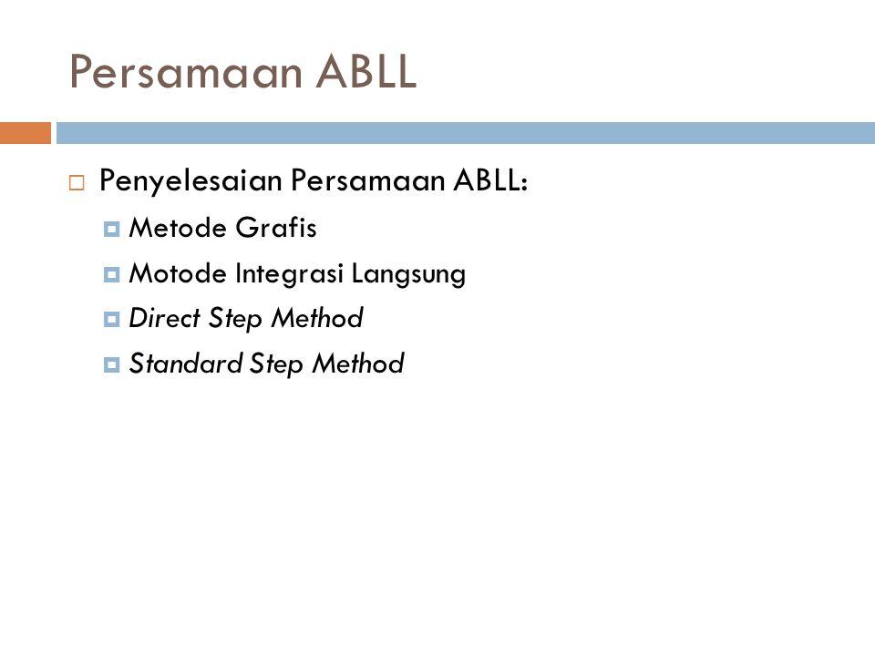 Persamaan ABLL  Penyelesaian Persamaan ABLL:  Metode Grafis  Motode Integrasi Langsung  Direct Step Method  Standard Step Method