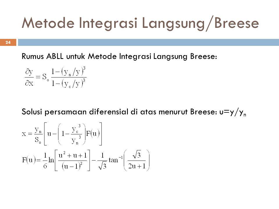 Metode Integrasi Langsung/Breese 24 Rumus ABLL untuk Metode Integrasi Langsung Breese: Solusi persamaan diferensial di atas menurut Breese: u=y/y n