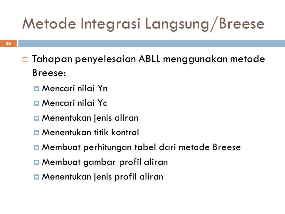 Metode Integrasi Langsung/Breese 26  Tahapan penyelesaian ABLL menggunakan metode Breese:  Mencari nilai Yn  Mencari nilai Yc  Menentukan jenis al