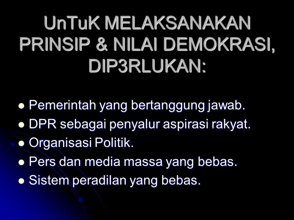 NILAI-NILAI YG MENDASARI DEMOKRASI Menyelesaikan perselisihan dgn damai dan secara melembaga. Menyelesaikan perselisihan dgn damai dan secara melembag