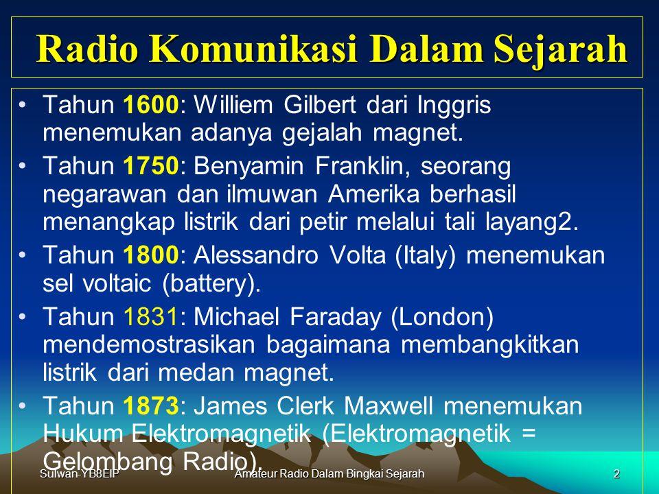 Sulwan-YB8EIP1 Amateur Radio Dalam Bingkai Sejarah Selayang Pandang Amateur Radio Oleh: Sulwan Dase – YB8EIP Email: yb8eip@yahoo.com yb8eip@yahoo.com