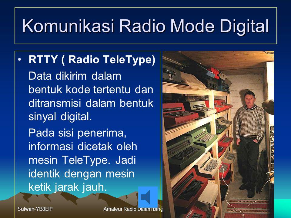 Sulwan-YB8EIPAmateur Radio Dalam Bingkai Sejarah34 Komunikasi Radio Mode Digital Komunikasi Radio Mode Digital terdiri dari: –RTTY –ASK, FSK –BPSK (PS