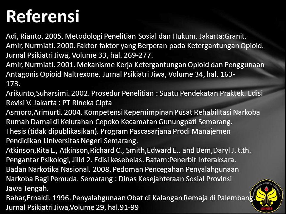Referensi Adi, Rianto. 2005. Metodologi Penelitian Sosial dan Hukum.