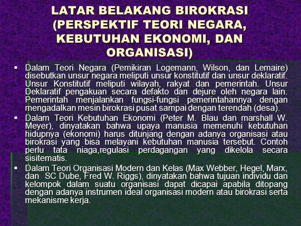 LATAR BELAKANG BIROKRASI (PERSPEKTIF TEORI NEGARA, KEBUTUHAN EKONOMI, DAN ORGANISASI)  Dalam Teori Negara (Pemikiran Logemann, Wilson, dan Lemaire) d