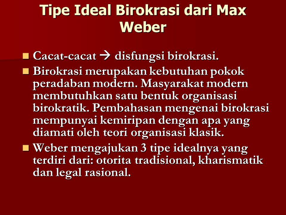 Tipe Ideal Birokrasi dari Max Weber Cacat-cacat  disfungsi birokrasi.