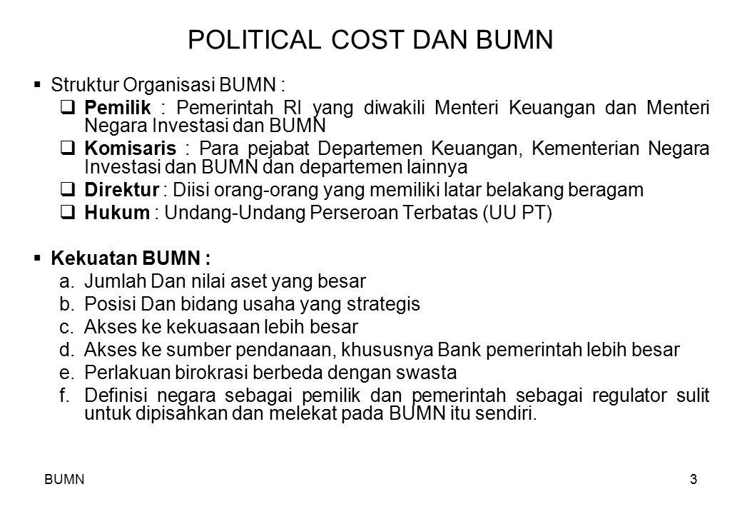BUMN3 POLITICAL COST DAN BUMN  Struktur Organisasi BUMN :  Pemilik : Pemerintah RI yang diwakili Menteri Keuangan dan Menteri Negara Investasi dan B