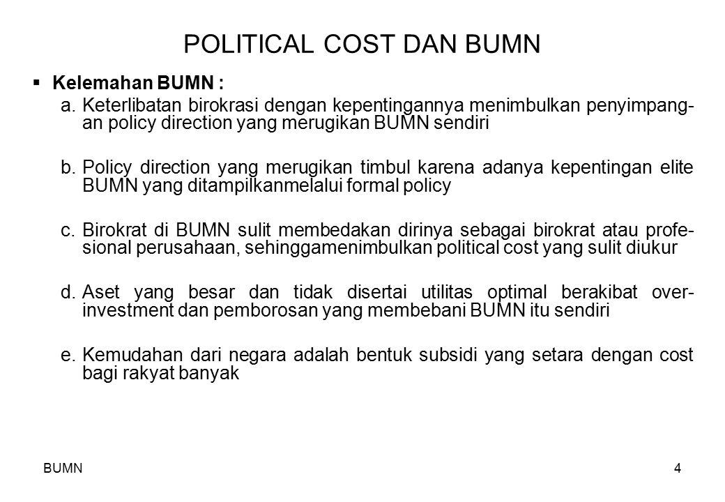 BUMN4 POLITICAL COST DAN BUMN  Kelemahan BUMN : a.Keterlibatan birokrasi dengan kepentingannya menimbulkan penyimpang- an policy direction yang merug