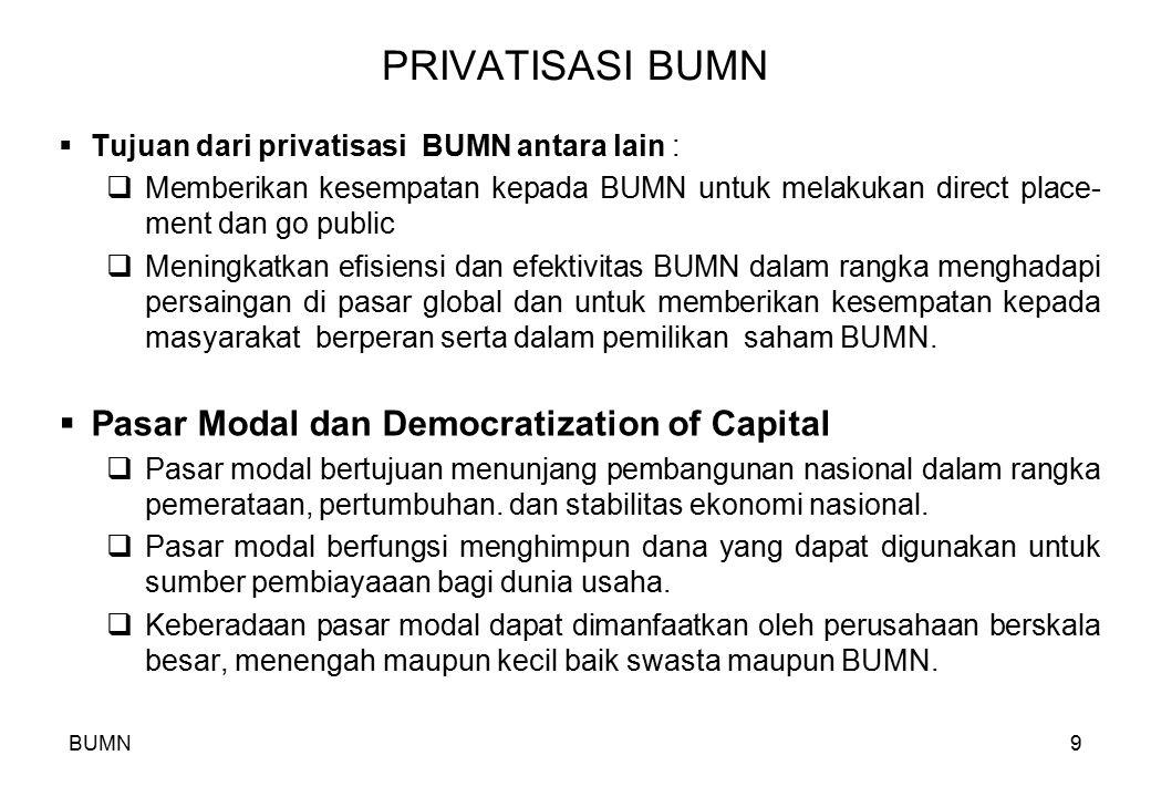 BUMN9 PRIVATISASI BUMN  Tujuan dari privatisasi BUMN antara lain :  Memberikan kesempatan kepada BUMN untuk melakukan direct place- ment dan go publ