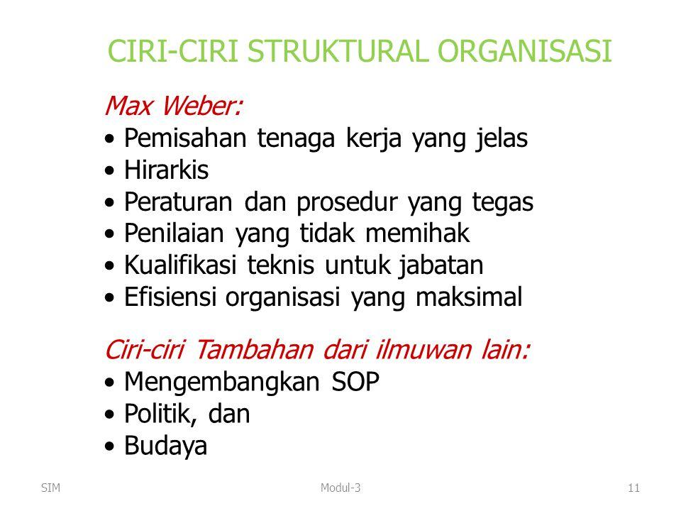 SIMModul-311 CIRI-CIRI STRUKTURAL ORGANISASI Max Weber: Pemisahan tenaga kerja yang jelas Hirarkis Peraturan dan prosedur yang tegas Penilaian yang ti