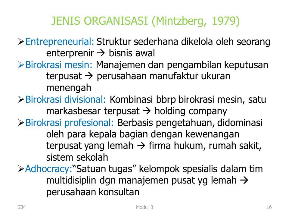 JENIS ORGANISASI (Mintzberg, 1979)  Entrepreneurial: Struktur sederhana dikelola oleh seorang enterprenir  bisnis awal  Birokrasi mesin: Manajemen