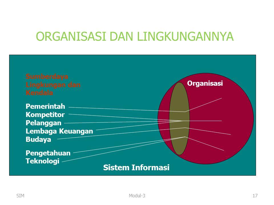 ORGANISASI DAN LINGKUNGANNYA Sumberdaya Lingkungan dan Kendala Pemerintah Kompetitor Pelanggan Lembaga Keuangan Budaya Pengetahuan Teknologi Sistem In