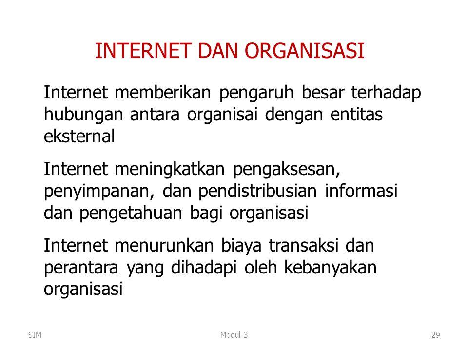 INTERNET DAN ORGANISASI Internet memberikan pengaruh besar terhadap hubungan antara organisai dengan entitas eksternal Internet meningkatkan pengakses