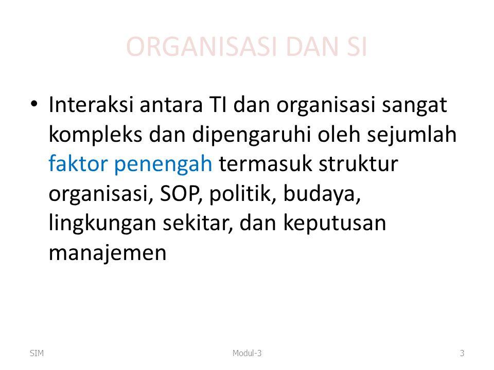ORGANISASI DAN SI Interaksi antara TI dan organisasi sangat kompleks dan dipengaruhi oleh sejumlah faktor penengah termasuk struktur organisasi, SOP,