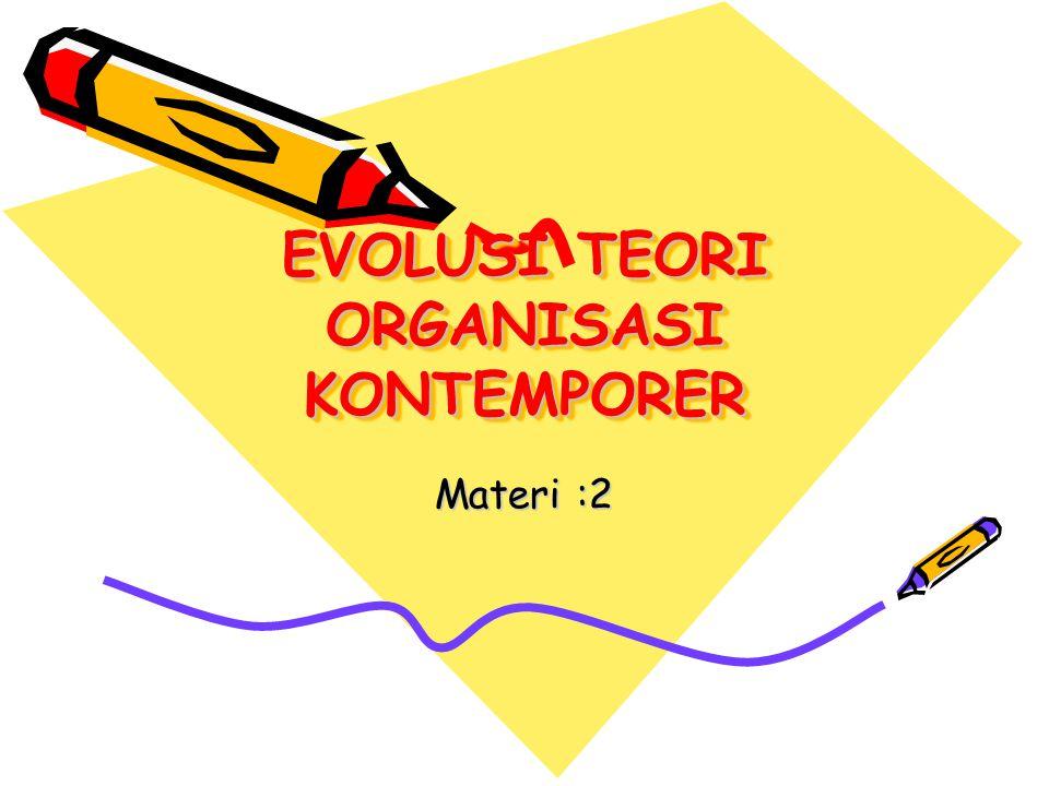 EVOLUSI TEORI ORGANISASI KONTEMPORER Materi :2