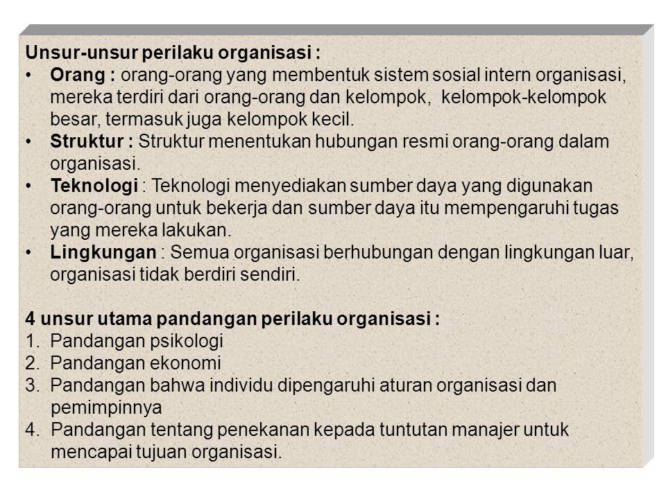 DASAR PERILAKU INDIVIDU Karakteristik biografis/pribadi (usia,jenis kelamin, status, tanggungan keluarga, masa kerja)Karakteristik biografis/pribadi (usia,jenis kelamin, status, tanggungan keluarga, masa kerja) Kemampuan (intelektual, fisik)Kemampuan (intelektual, fisik) Kepribadian : total jumlah dari cara seorang bereaksi dan berinteraksi : Faktor yang menentukan (DETERMINAN) Keturunan, Lingkungan, SituasiKepribadian : total jumlah dari cara seorang bereaksi dan berinteraksi : Faktor yang menentukan (DETERMINAN) Keturunan, Lingkungan, Situasi Persepsi : Proses mengorganisasikan dan menafsirkan kesan indera  memberi makna kepada lingkungan Faktor yang mempengaruhi : KESAN, TARGET, SITUASI Teori Atribut  Perilaku Dipengaruhi oleh Internal/Eksternal Elemen : Kekhususan, Konsensus, Konsisten