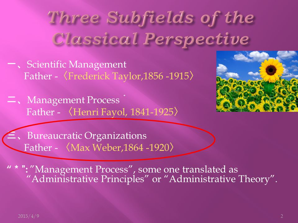 一、 Scientific Management Father - 〈 Frederick Taylor,1856 -1915 〉 二、 Management Process * Father - 〈 Henri Fayol, 1841-1925 〉 三、 Bureaucratic Organiza