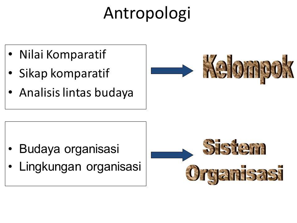 Antropologi Nilai Komparatif Sikap komparatif Analisis lintas budaya Budaya organisasi Lingkungan organisasi