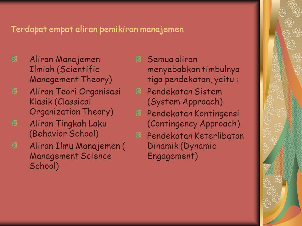Terdapat empat aliran pemikiran manajemen Aliran Manajemen Ilmiah (Scientific Management Theory) Aliran Teori Organisasi Klasik (Classical Organizatio