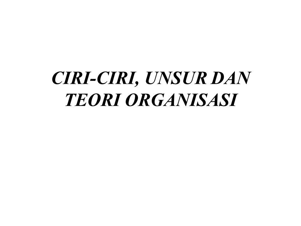 Outline Ciri-ciri Organisasi Unsur-unsur Organisasi Teori Organisasi