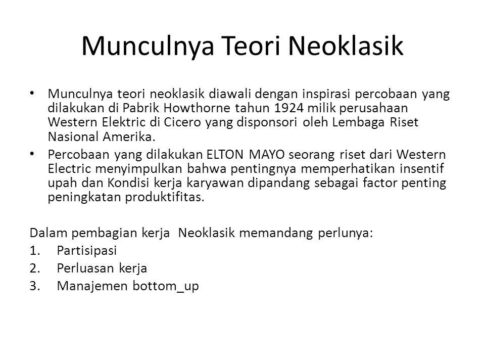Munculnya Teori Neoklasik Munculnya teori neoklasik diawali dengan inspirasi percobaan yang dilakukan di Pabrik Howthorne tahun 1924 milik perusahaan