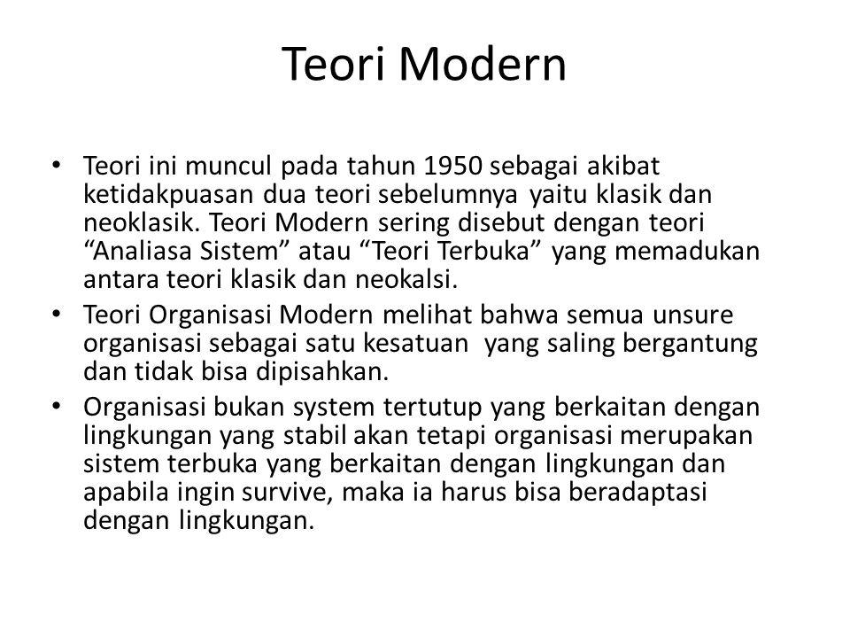 Teori Modern Teori ini muncul pada tahun 1950 sebagai akibat ketidakpuasan dua teori sebelumnya yaitu klasik dan neoklasik. Teori Modern sering disebu