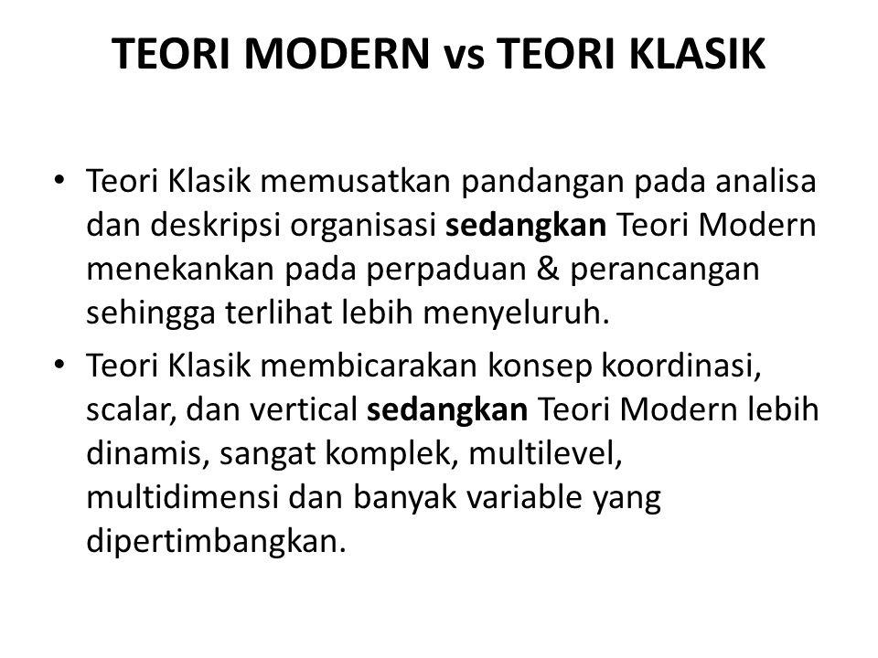 TEORI MODERN vs TEORI KLASIK Teori Klasik memusatkan pandangan pada analisa dan deskripsi organisasi sedangkan Teori Modern menekankan pada perpaduan
