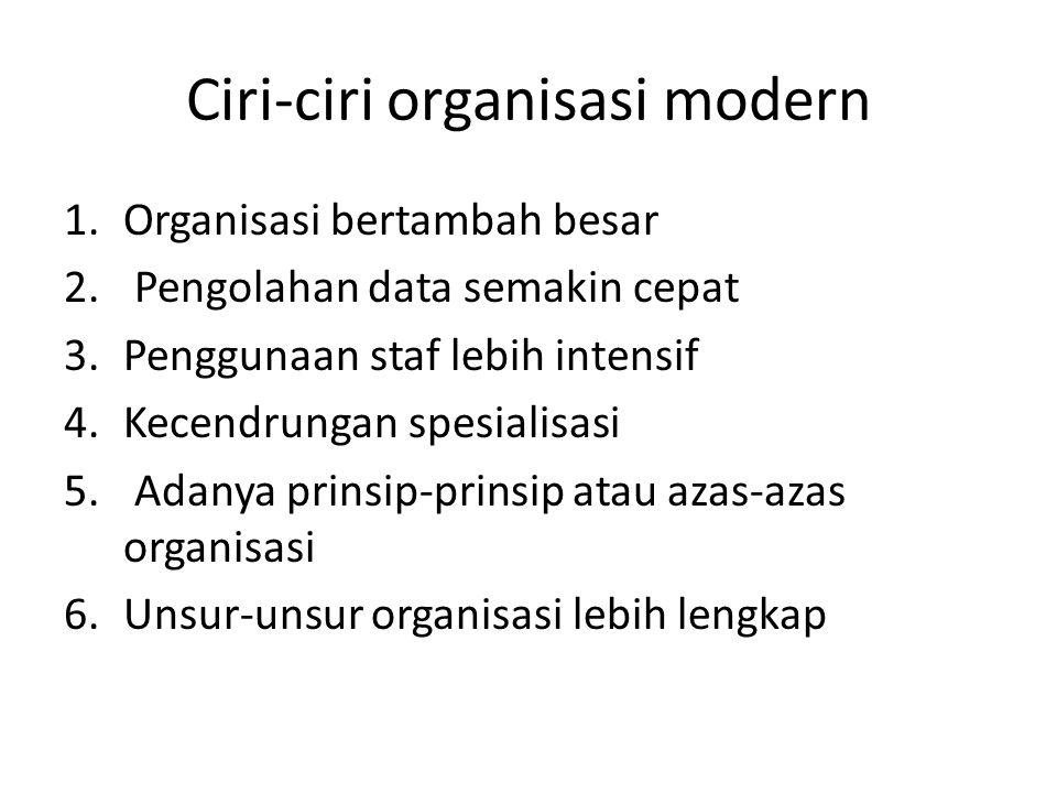 Ciri-ciri organisasi modern 1.Organisasi bertambah besar 2. Pengolahan data semakin cepat 3.Penggunaan staf lebih intensif 4.Kecendrungan spesialisasi