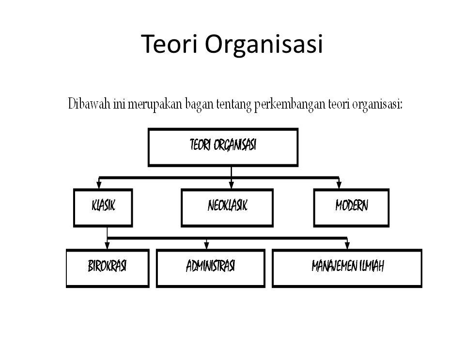 TEORI ORGANISASI KLASIK Teori ini biasa disebut dengan teori tradisional atau disebut juga teori mesin .