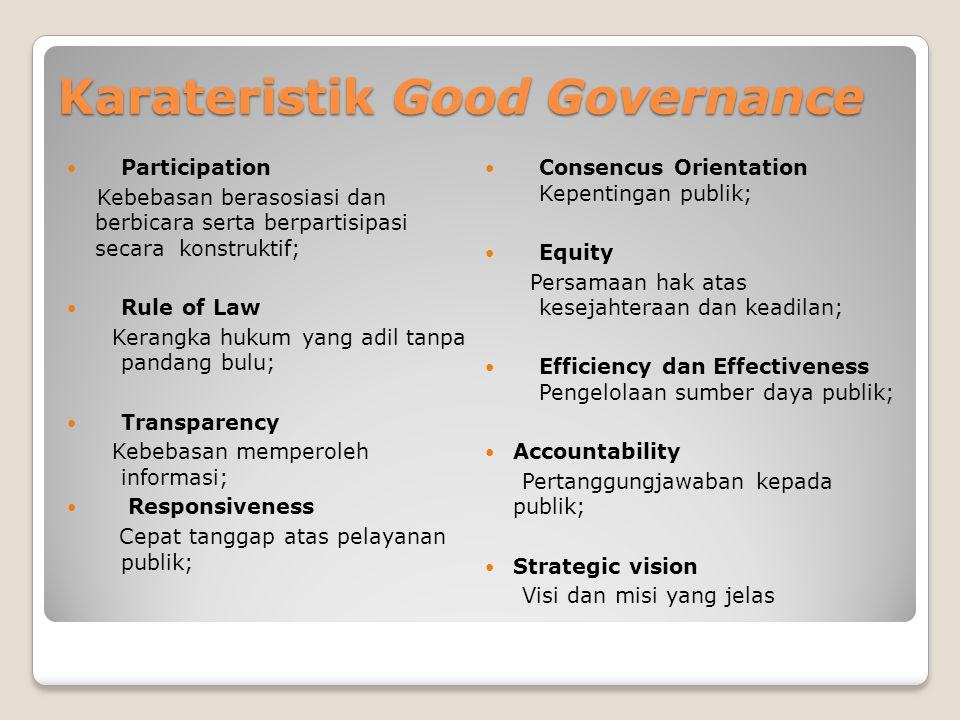 Karateristik Good Governance Participation Kebebasan berasosiasi dan berbicara serta berpartisipasi secara konstruktif; Rule of Law Kerangka hukum yan
