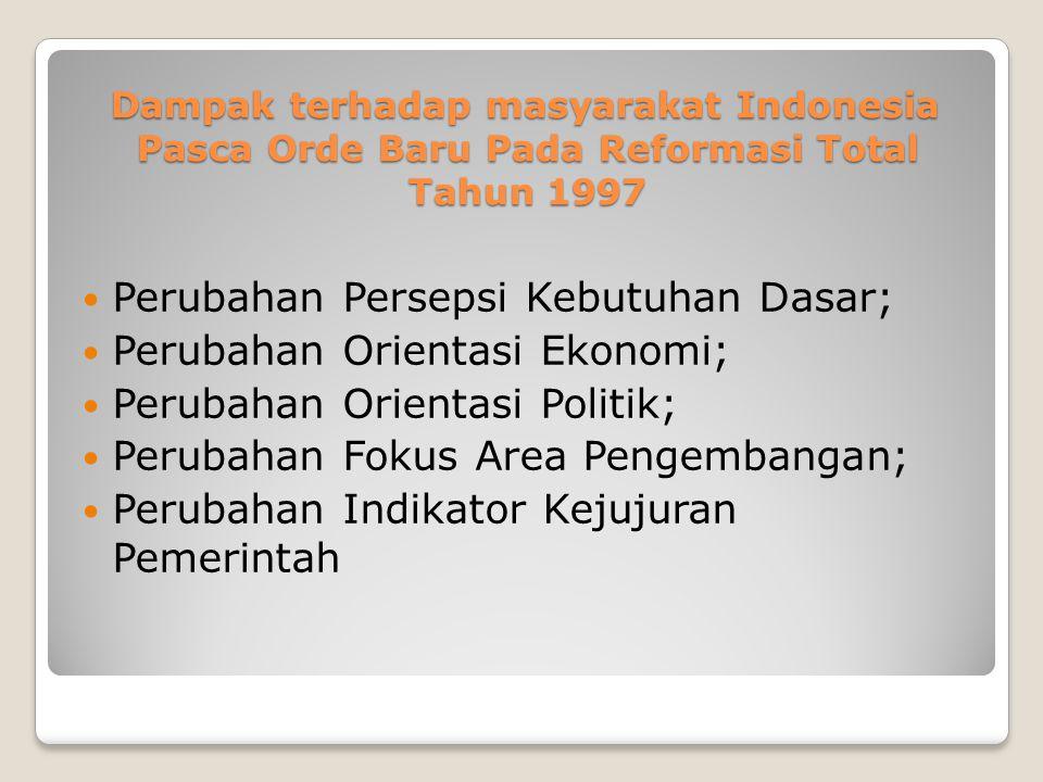 Dampak terhadap masyarakat Indonesia Pasca Orde Baru Pada Reformasi Total Tahun 1997 Perubahan Persepsi Kebutuhan Dasar; Perubahan Orientasi Ekonomi;