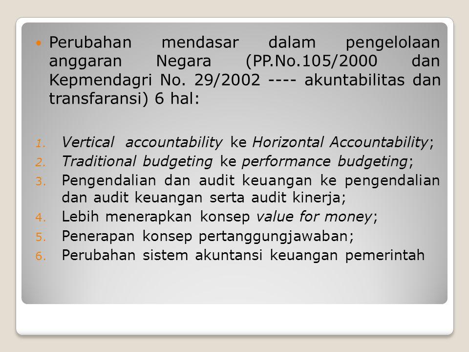 Perubahan mendasar dalam pengelolaan anggaran Negara (PP.No.105/2000 dan Kepmendagri No. 29/2002 ---- akuntabilitas dan transfaransi) 6 hal: 1. Vertic