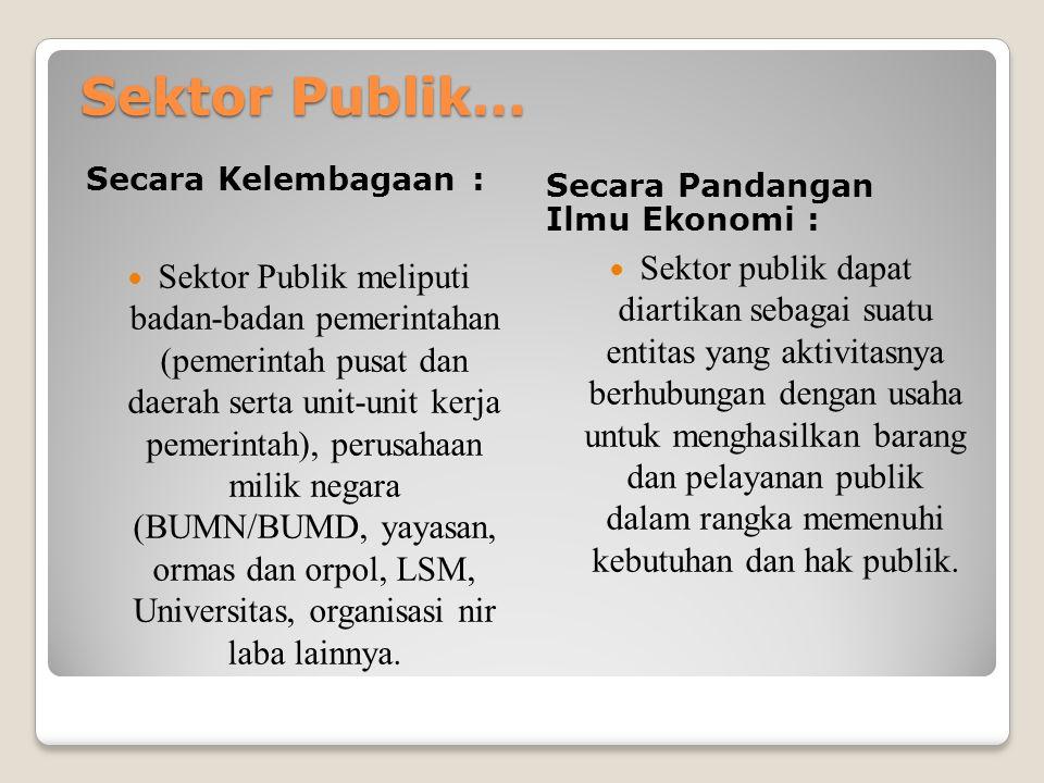 Sektor Publik… Secara Kelembagaan : Secara Pandangan Ilmu Ekonomi : Sektor Publik meliputi badan-badan pemerintahan (pemerintah pusat dan daerah serta