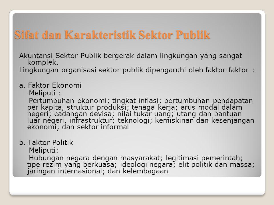 Sifat dan Karakteristik Sektor Publik Akuntansi Sektor Publik bergerak dalam lingkungan yang sangat komplek. Lingkungan organisasi sektor publik dipen