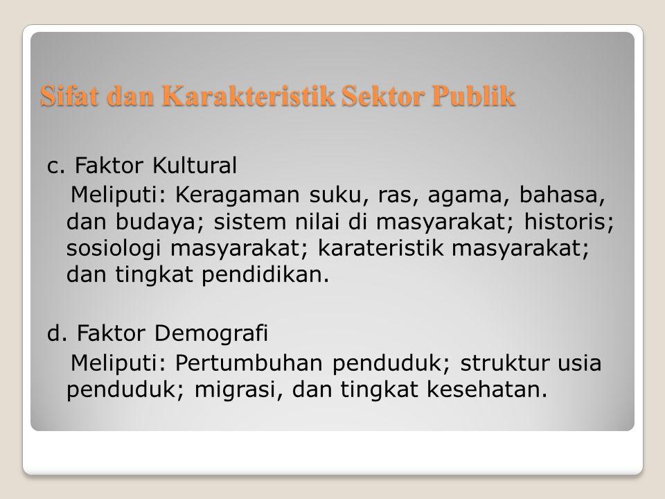 Sifat dan Karakteristik Sektor Publik c. Faktor Kultural Meliputi: Keragaman suku, ras, agama, bahasa, dan budaya; sistem nilai di masyarakat; histori