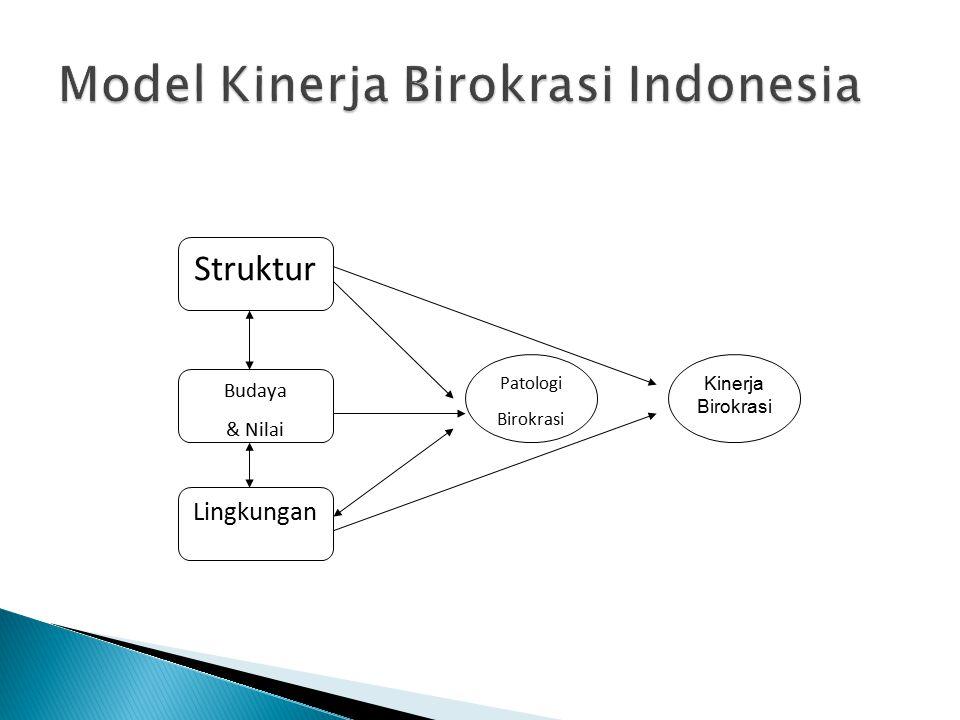 Struktur Lingkungan Budaya & Nilai Patologi Birokrasi Kinerja Birokrasi