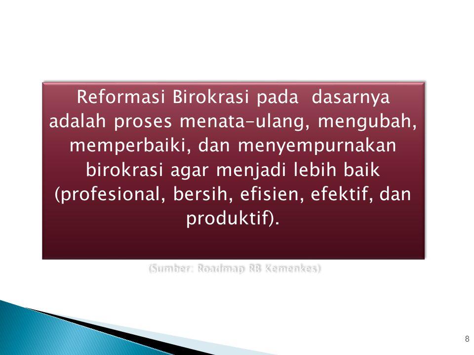 Area Perubahan Organisasi yang tepat fungsi dan tepat ukuran Sistem, proses dan prosedur kerja yang jelas, efektif, efisien, terukur dan sesuai dengan prinsip- prinsip good governance Regulasi yang lebih tertib, tidak tumpang tindih dan kondusif SDM aparatur yang berintegritas, netral, kompeten, capable, profesional, berkinerja tinggi dan sejahtera Meningkatnya penyelenggaraan pemerintahan yang bersih dan bebas Korupsi, Kolusi dan Nepotisme Meningkatnya kapasitas dan akuntabilitas kinerja birokrasi Pelayanan prima sesuai kebutuhan dan harapan masyarakat Birokrasi dengan integritas dan kinerja yang tinggi 1.